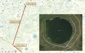 Вид озера Жилое на карте